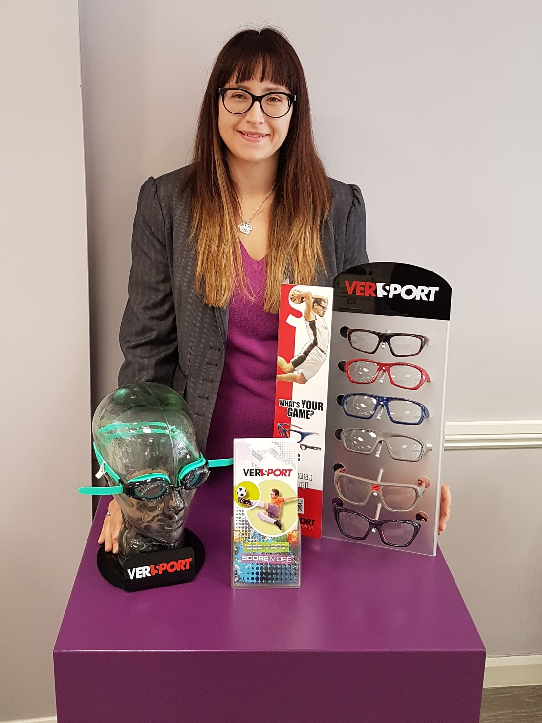 Optician with Versport range of sports glasses